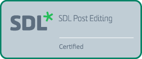 SDL Post Editing Certified.